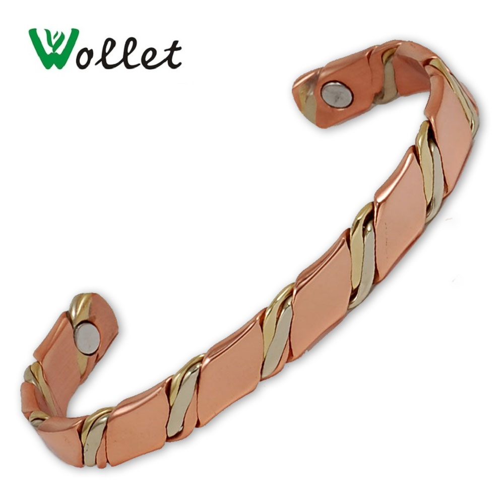 Wollet Jewelry Open Cuff Magnetic Copper Bangle Bracelet for Women Rose Gold Anti-fatigue Arthritis Rheumatism Pain Relief