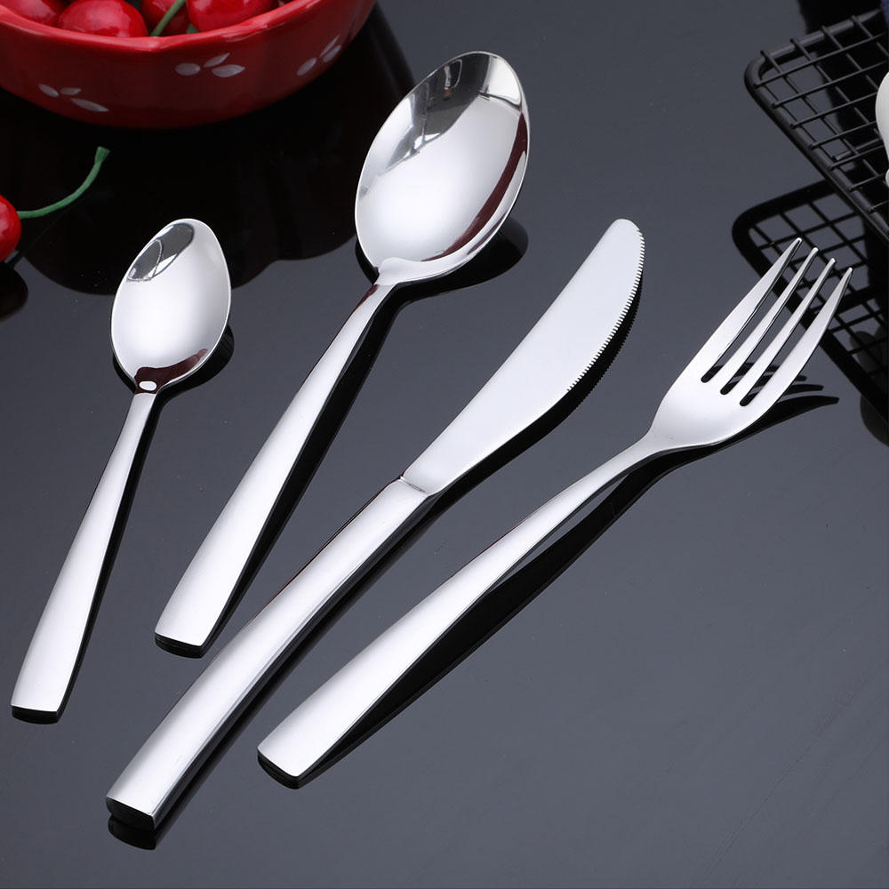 Image 4 - 24 PCS Flatware Set High grade Mirror Polishing Stainless Steel Cutlery Sets Silverware Dinnerware Spoons/Knives With Gift Box-in Dinnerware Sets from Home & Garden