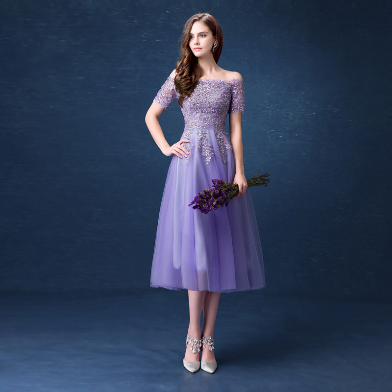 Grace Purple Evening Dresses New Arrival A-Line Boat Neck Tulle Embroidery  Sequined Nail Beaded Tea Length Formal Dresses 57a437793766