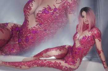 Rose Stones Sparkly Jumpsuit Fashion Spandex Stretch Shining Dance Costume One-piece Bodysuit Nightclub Outfit Party Leggings