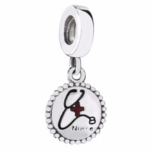 New 925 Sterling Silver Bead Charm Black & Red Enamel Hospital Nurse Pendant Beads Fit Women Pandora Bracelet Bangle DIY Jewelry
