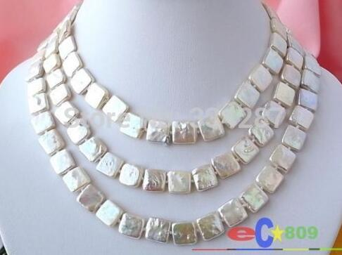 LONG 48 12MM WHITE SQUARE FW CULTURED PEARL NECKLACELONG 48 12MM WHITE SQUARE FW CULTURED PEARL NECKLACE