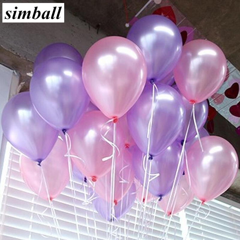Us 0 6 45 Off 10pcs 10inch Pink Light Purple Pearl Latex Balloons Inflatable Wedding Decorations Air Ball Happy Birthday Party Ballon Supplies In