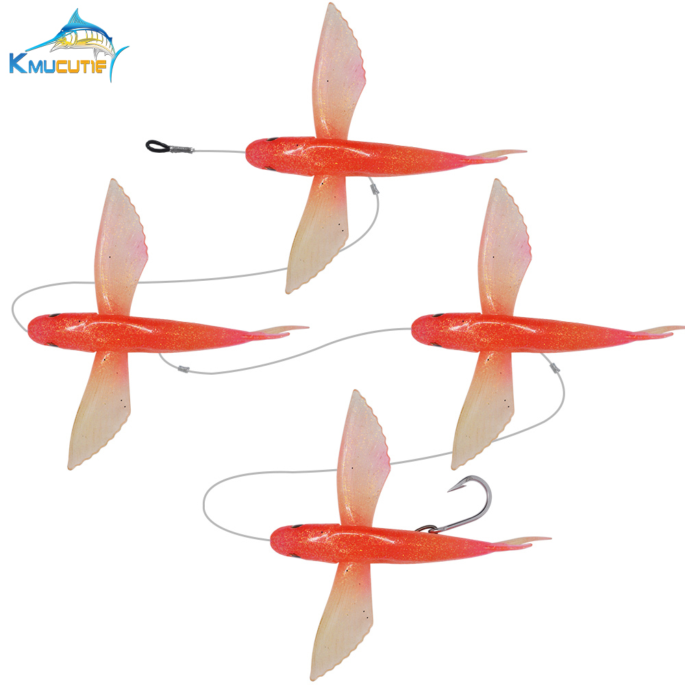 SET of 4 pcs <font><b>Soft</b></font> flying fish <font><b>Bait</b></font> <font><b>big</b></font> fishing lure Marlin trolling lures with High carbon steel hook image