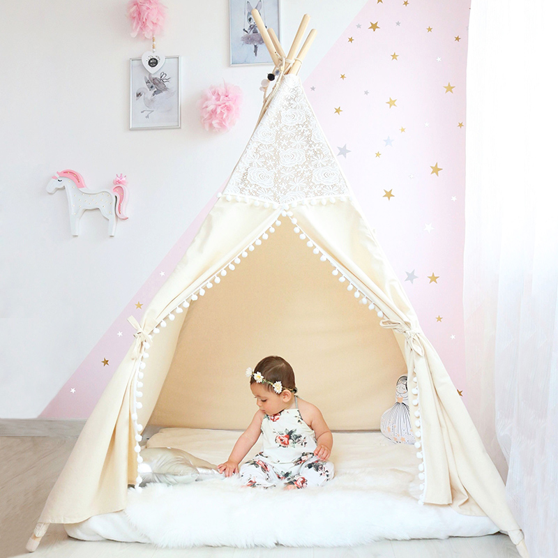 Lace Tipi Tent For Kids Cotton Teepees For Children Playhouse Foldable Play Tent For Baby Reading