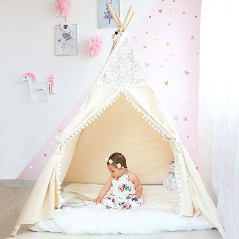 Кружева типи палатка для детей хлопок Teepees для детей Playhouse складная палатка для игр для ребенка чтение уголок Экстра долл. 5 USD купон