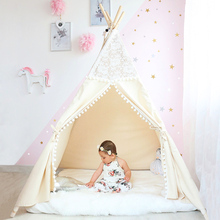 Lace Tipi Tent For Kids Cotton Teepees Children Playhouse Foldable Play Baby Reading Corner Extra 5 USD Coupon