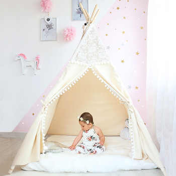 Lace Tipi Tent For Kids Cotton Teepees For Children Playhouse Foldable Play Tent For Baby Reading Corner Extra 5 USD Coupon - DISCOUNT ITEM  30% OFF All Category