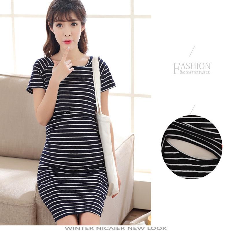 New 2018 Fashion Cotton Striped Nursing Dress For Pregnancy Woman Maternity Dress Clothing Breastfeeding Nursing Dresses L-2XL
