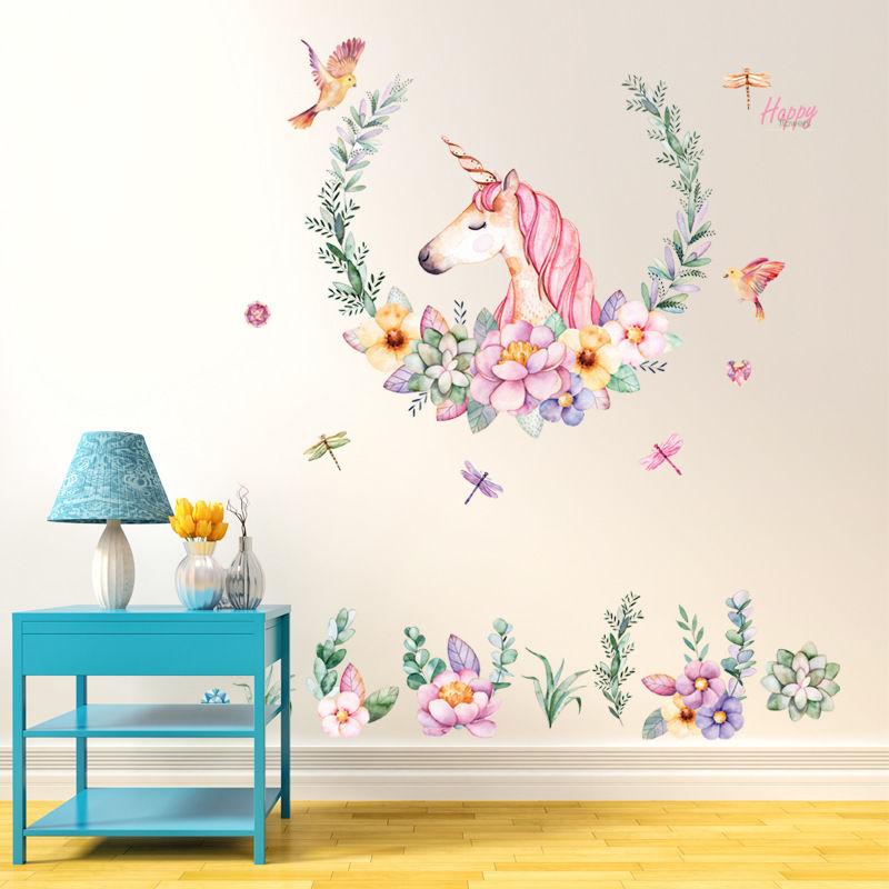 unicorn bedroom stickers crayons removable pvc sofa decorative living