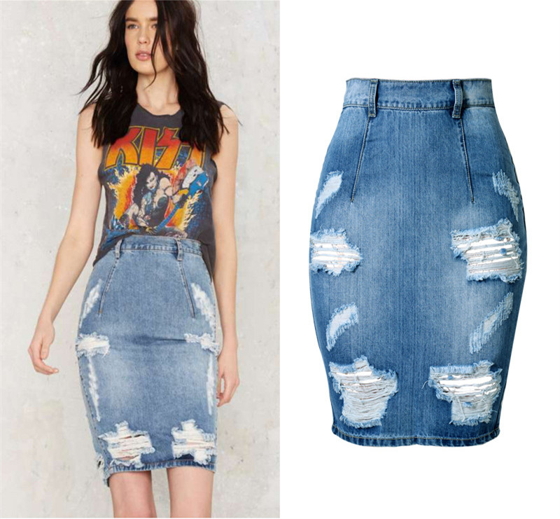 9e86bffdbd8 Fashion New Ripped Denim Skirt Women Plus Size Distressed High Waist Pencil  Skirts Washing Blue Jupe femme