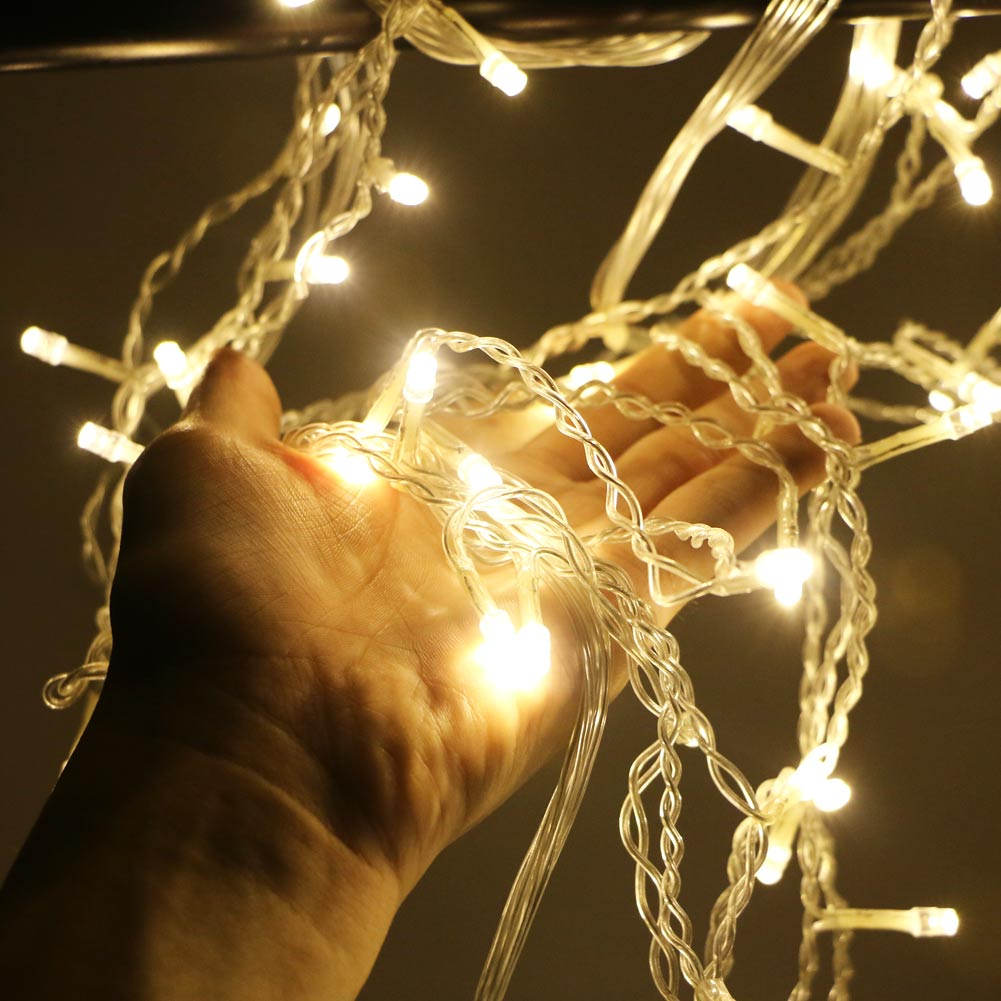 EU Plug <font><b>5M</b></font> <font><b>216</b></font> <font><b>LED</b></font> light strip Fairy Icicle String Light Christmas Party Decoration Holiday Curtain Light Waterproof image