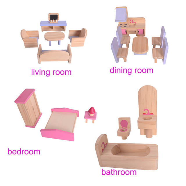 Kid's Wooden Doll Villa with Doll Furniture and Puppets