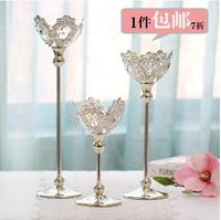 fashion 3pcs/set silver plated crystal candle holder wedding decoration candlestick crystal candelabra for decoration mari ZT094