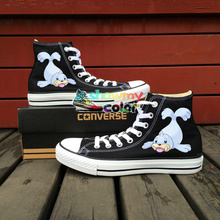 Anime Shoes Girls Boys Converse All Star Pokemon Go Dewgong Sea Lion Design Hand Painted High Top Canvas Sneakers Men Women
