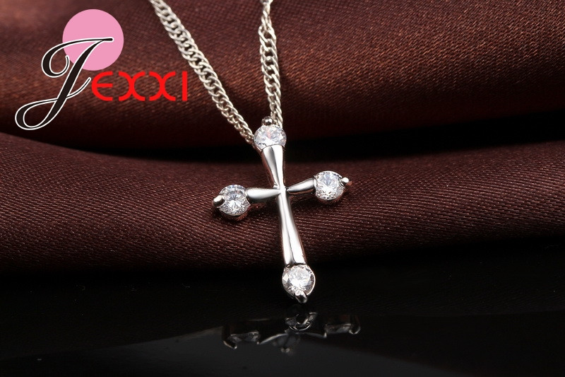 HTB1kLi.MXXXXXbpXXXXq6xXFXXXx - 925 Sterling Silver Pendant Necklace Fashion Brand Crystal Party/Engagement Jewelry For Women Romantic Gift Hot Sale