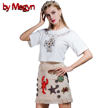 by Megyn 2 Pieces Women Set Casual Suits Embroidery Tops + Fish Appliques Knee Length Skirt Women Bodycon Dress Twinset DG1958