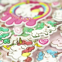 3D Cartoon Unicorn Stickers Set