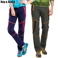 RAY GRACE Men's Women's Outdoor Pants Summer Quick Dry Stretched Breathable Patchwork Hiking Camping Fishing Pants Trousers