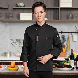 Image 5 - Unisex Chef ชุดอาหาร Cook Jacket ยาว/แขนสั้นห้องครัวเสื้อผ้า Pastry เบเกอรี่ทำอาหาร Overalls