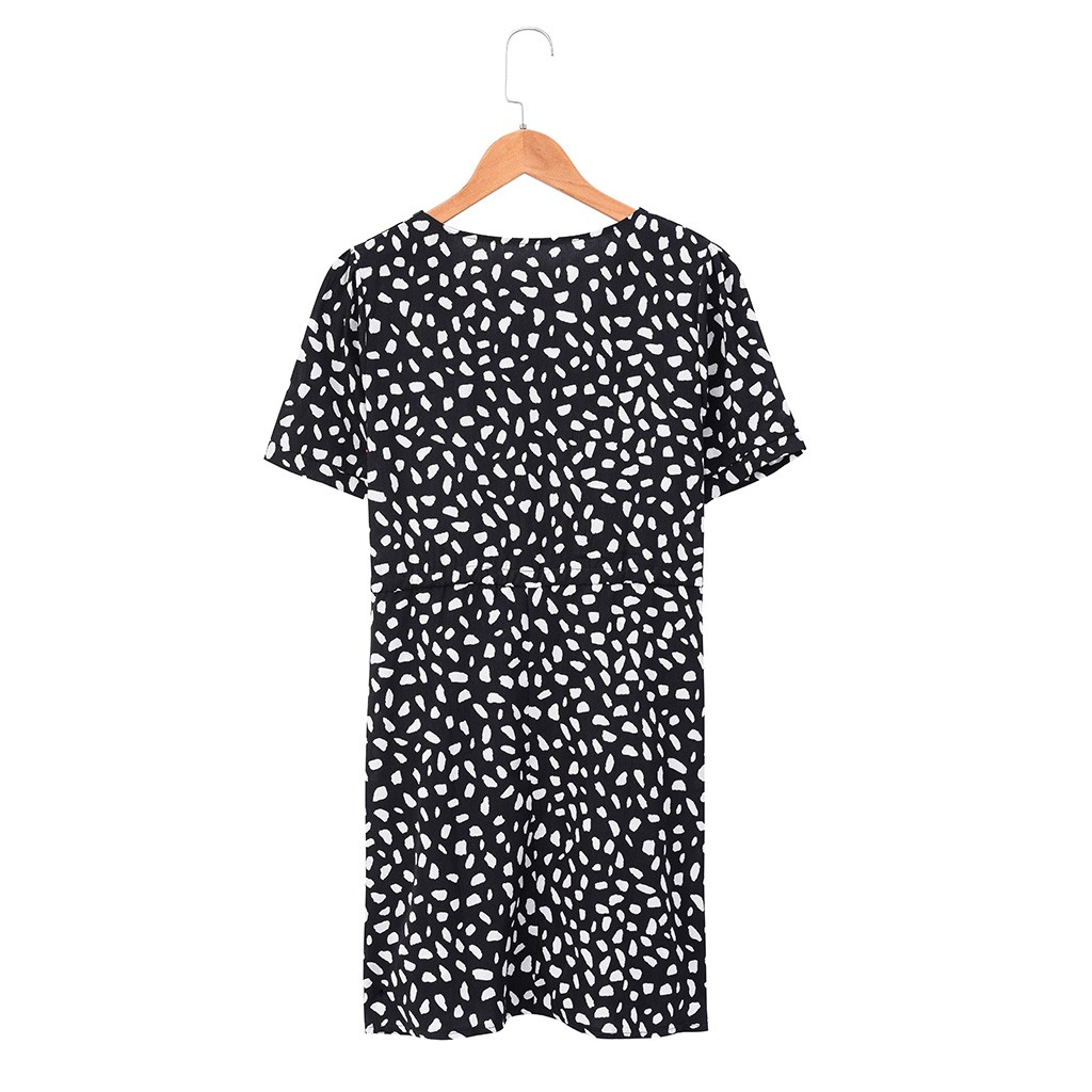 HTB1kLiAOrvpK1RjSZPiq6zmwXXab Short Sleeve dress woman basic Printing V-neck casual dress flare Button Summer Dress Princess Dress vestidos #G6