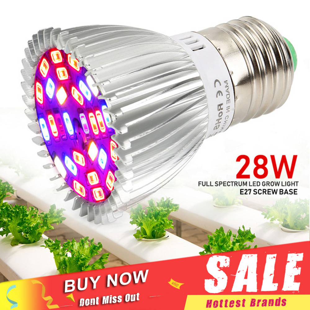 Full Spectrum E27 28W SMD5730 LED Grow Lights 85V~265V Plants Growing Lamp for Medicinal Vegetable Flower Indoor Hydroponics medicinal plants for anti inflammatory activity