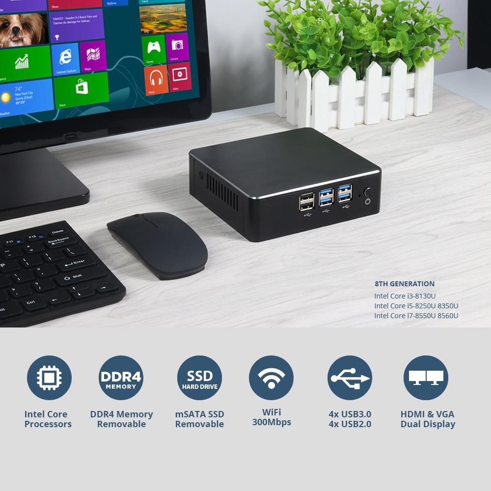 Image 3 - 8th Intel Core Mini PC i3 8130U i5 8250U i7 8550U Windows 10 DDR4 Gigabit Ethernet 300M WiFi 8xUSB HDMI VGA 4K HTPC NUC-in Mini PC from Computer & Office