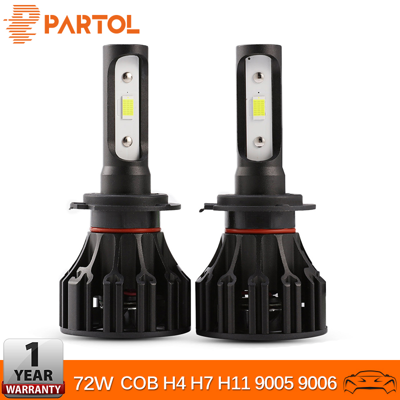Partol H4 LED Headlight Bulbs Hi-Lo Beam 72W 8000LM COB Chip H7 H11 Automobile LED Headlamp 9005 9006 H1 H3 Car Lights 6500K 12V