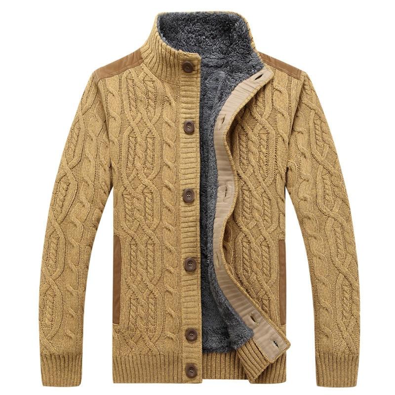 2019 hommes chandails motif tricots hommes chandails hiver chaud épais velours Sweatercoat simple-boutonnage décontracté Cardigan 3XL