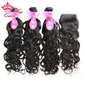 Queen Hair Brazilian Virgin Human Hair Natural Wave 3 Bundles With Free Style Lace Closure Water weave 4pcs/lot DHL Free