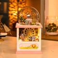 Hoomeda MC002 Happiness Ferris Wheel DIY Dollhouse Kit With LED Light Music Decor Collection Birthday Holiday Gift For Kids