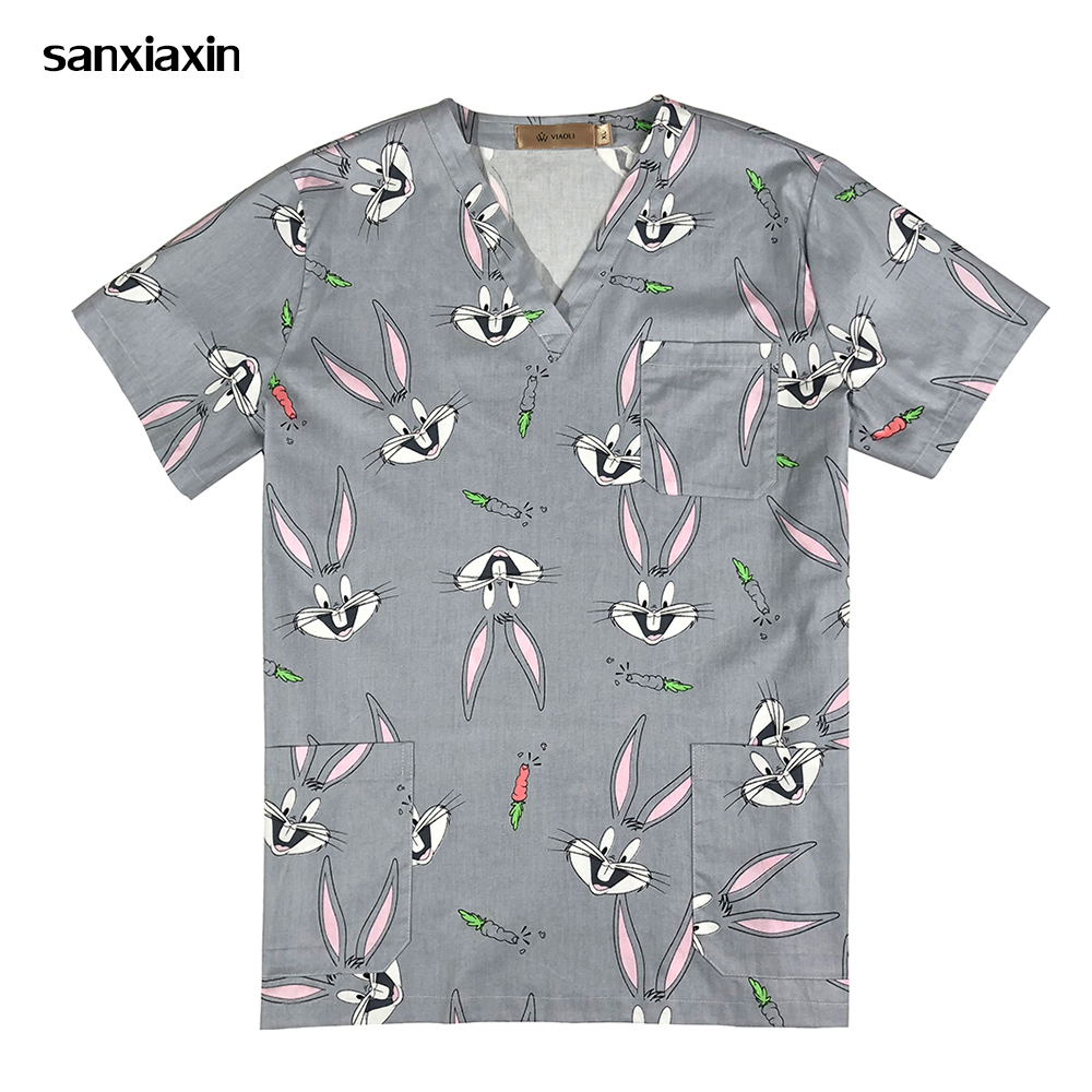 Rabbit Print Surgical Medical Uniform Hospital Nurse Uniform Beauty Salon Dentist Clinic Pharmacy Pet Veterinar Uniform Lab Coat