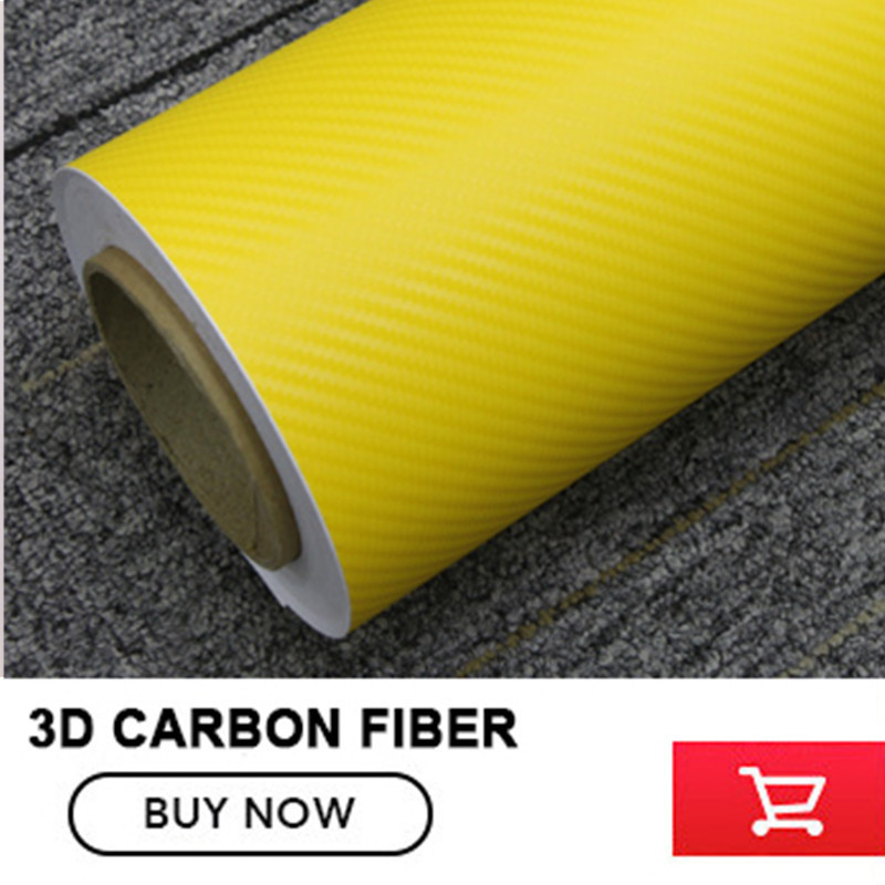 Car Sticker Yellow 3D Carbon Fiber 152cm X 30m Decal Styling Waterproof Vinyl Wrap Auto Motorcycle Decoration Film Whole Body