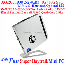 Baytrail mini шт J1900 с Intel Pentium Baytrail J1900 четырёхъядерный 2,0 ггц процессором особое smart дизайн 1 G RAM 16 G SSD