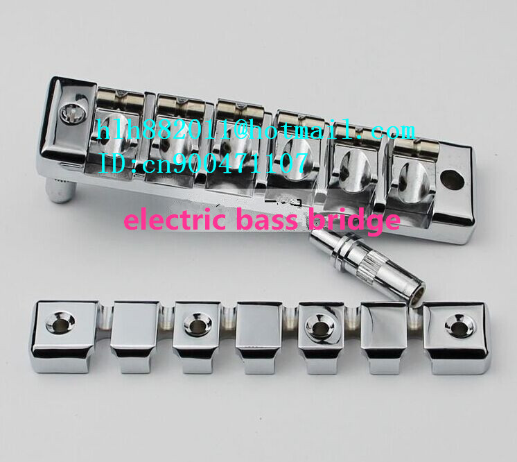 free shipping new 6 strings electric bass guitar bridge in chrome made in Korea L14 a set chrome vintage shape saddle bridge for 5 string electric bass guitar top load or strings through body