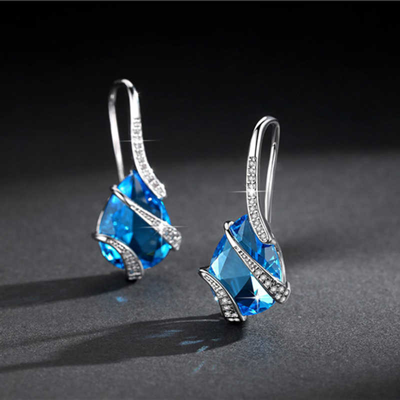 Water drop sharp setting cubic zirconia necklace earrings ring sets sea blue color party jewelry sets for women