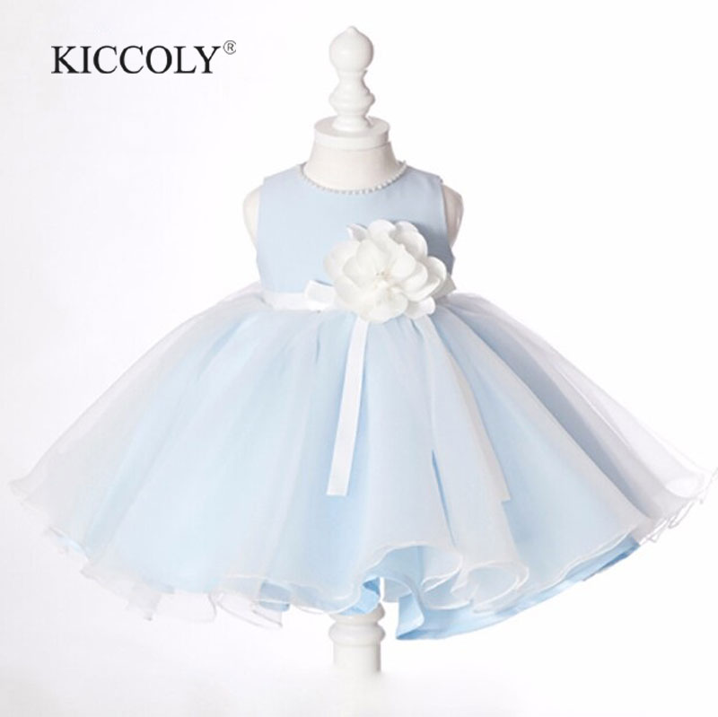 2016 Sky Blue christening girl dresses Pearl Neck Girl Party dresses for 12M-12T children party frock with flower Belt крокус blue pearl geolia