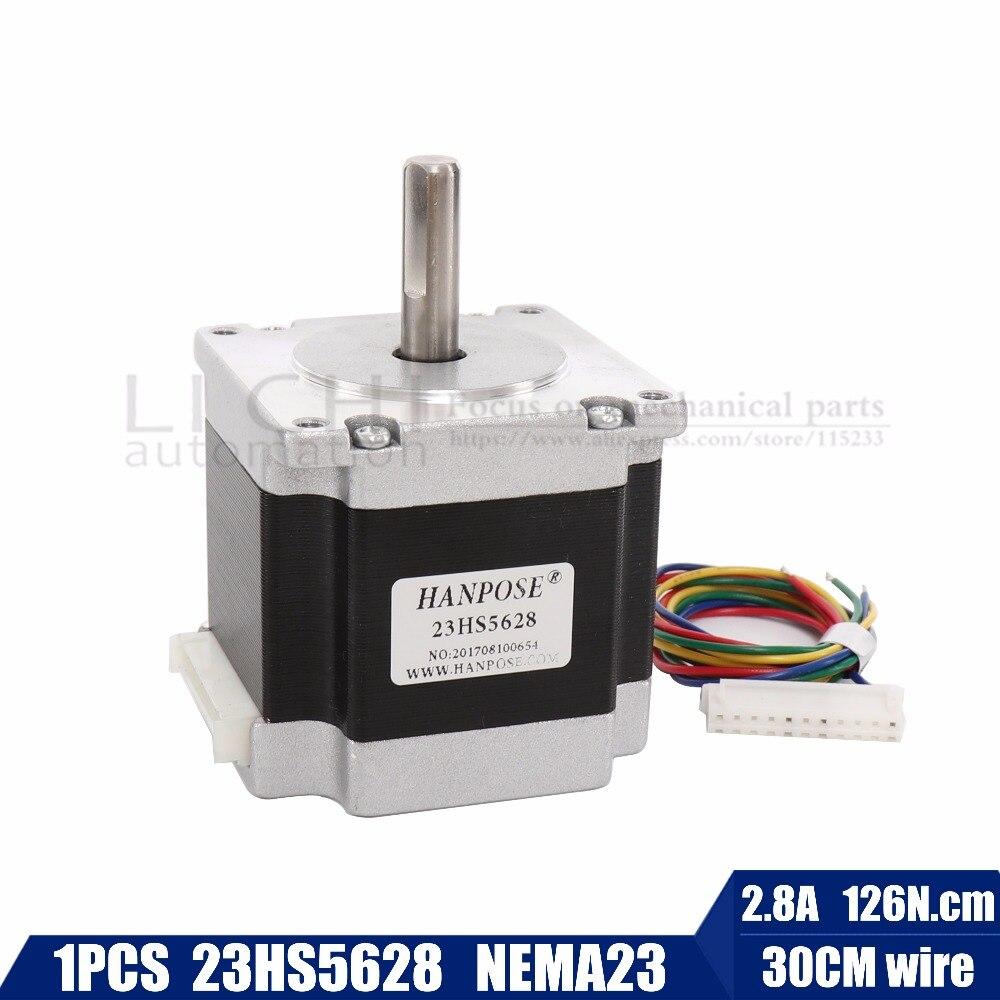 Envío gratuito 4-lead Nema 23 23HS5628 Motor paso a paso 57 motor 165 Oz-in 56mm 2.8A diame CNC láser moler espuma Plasma corte