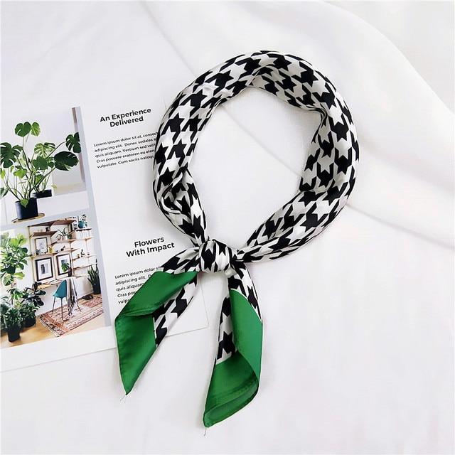 Шелковый атлас Для женщин квадратный шарф печати дамы Обёрточная бумага Бандана Глава волос шарф платки сумка аксессуары платок 70*70 см