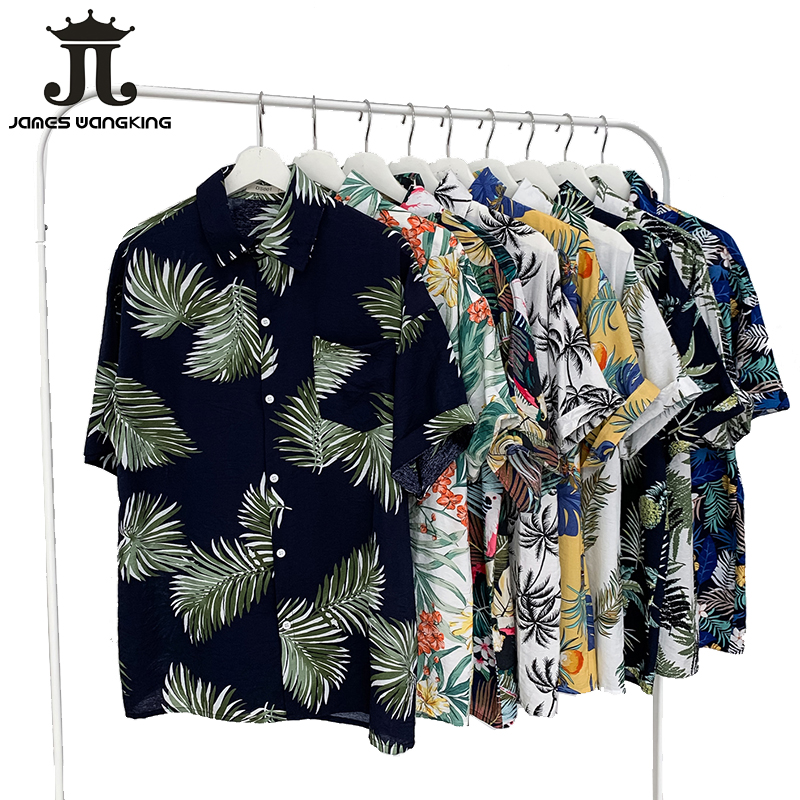 2019 Summer New Hawaii Original Tiled Beach Casual Couple Flower Shirt Travel Vacation Beach Sunscreen Shirt