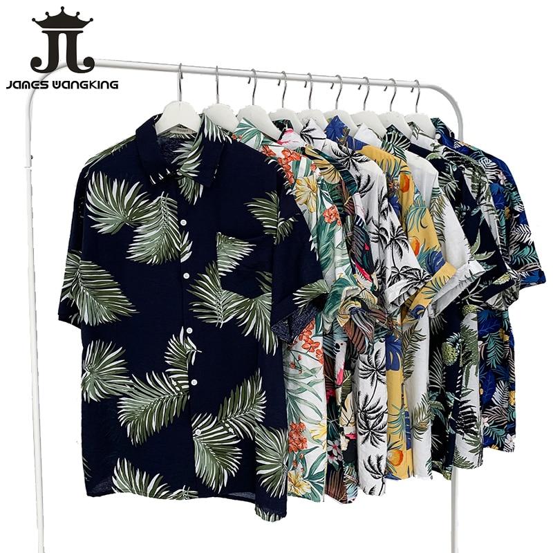 2019 Summer New Hawaii Original Tiled Beach Casual Couple Flower Shirt Travel Vacation Beach Sunscreen Shirt