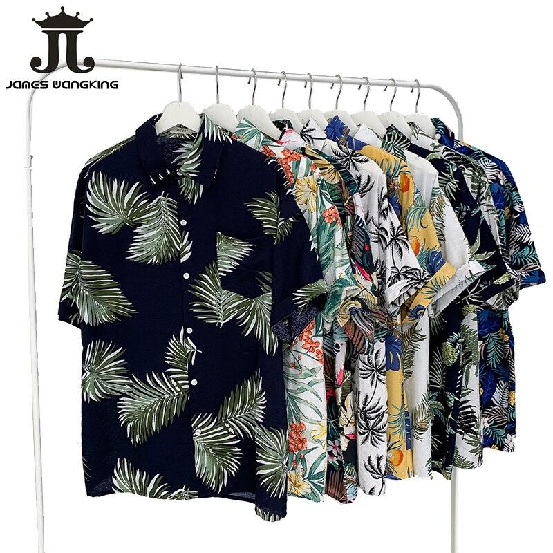 2019 verão novo havaí original azulejos praia casual casal flor camisa viagem férias praia protetor solar camisa