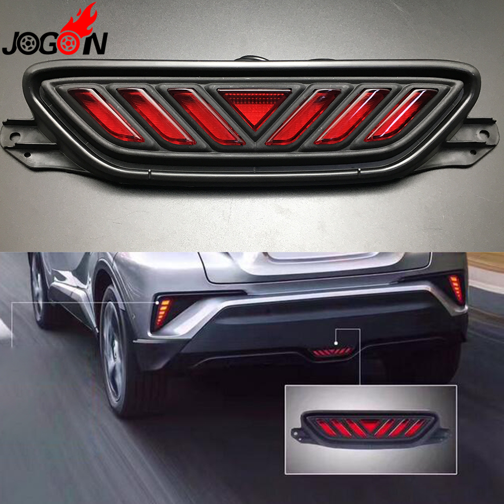 For Toyota C-HR CHR 2016 2017 Car Rear Bumper LED Brake Light Tail Red Lamp Assembly Anti Chasing Taillights