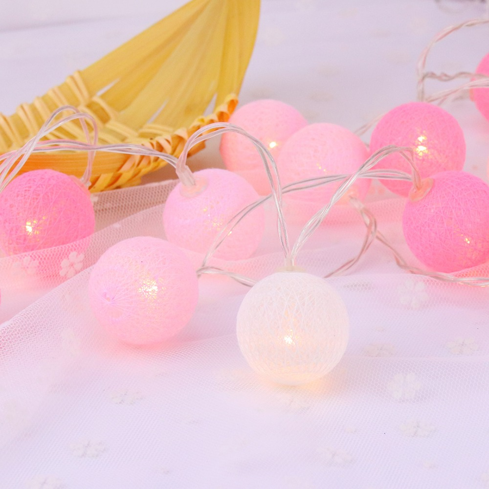 20 Led Pink Cotton Ball Decoración de vacaciones Luz LED String - Iluminación de vacaciones - foto 4