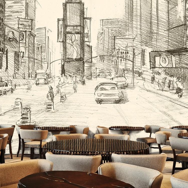 3d photo wallpaper dessert bar restaurant mural wallpaper personalized thangka modern retro 3d stereoscopic sketch wallpaper