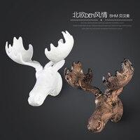 Nordic лося смолы статуэток оленей винтажные статуя Home Decor ремесла украшения стены объекты Смола голова животного фигурка подарки