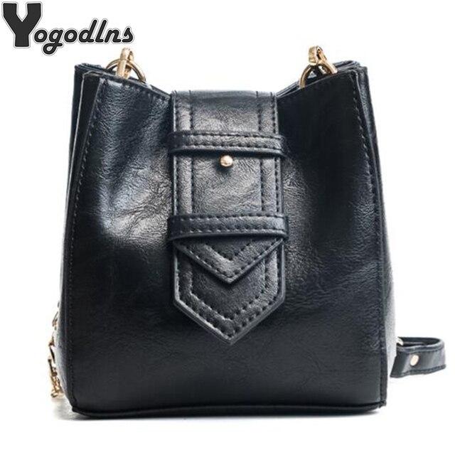 3cda2d2d7356 Vintage Crossbody Shoulder Bags For Women Leather Bucket Bags Ladies  Handbags Famous Brands Female Bag Chain