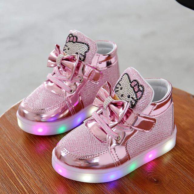 new children lighted casual shoes high rhinestone hello kitty shoes