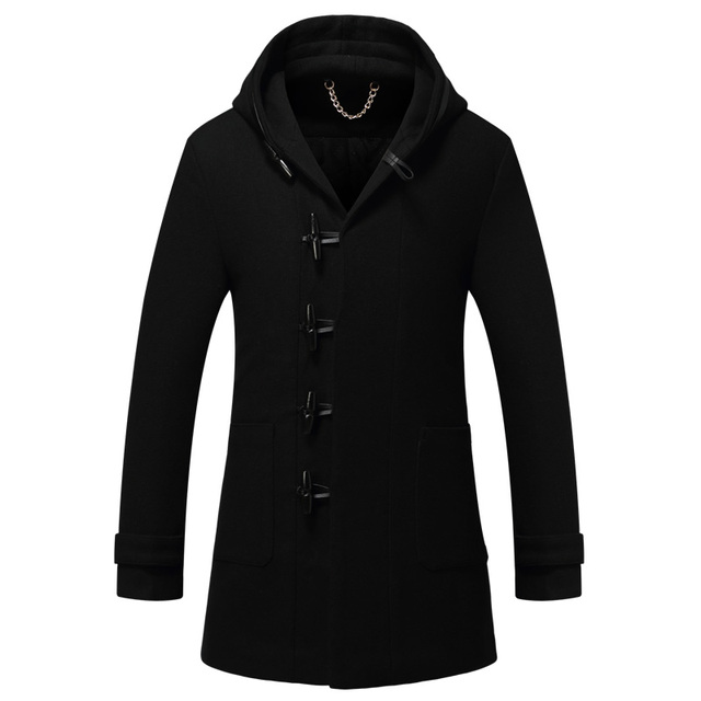 2017 Winter New Casual Over 50% Wool Mens Cashmere Coat Long Slim Hooded Wool & blends Men Thick Horn Buttons Winter Coat Men