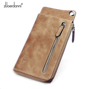 Image 2 - High Quality Men s zipper wallet cowhide phone wallets multi functional hand bag cow leather purse A375